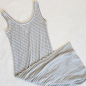 LOFT Gray and White Striped Tank Maxi Dress